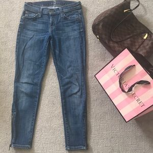 7 For All Mankind Cropped Skinny Jeans w/ zippers